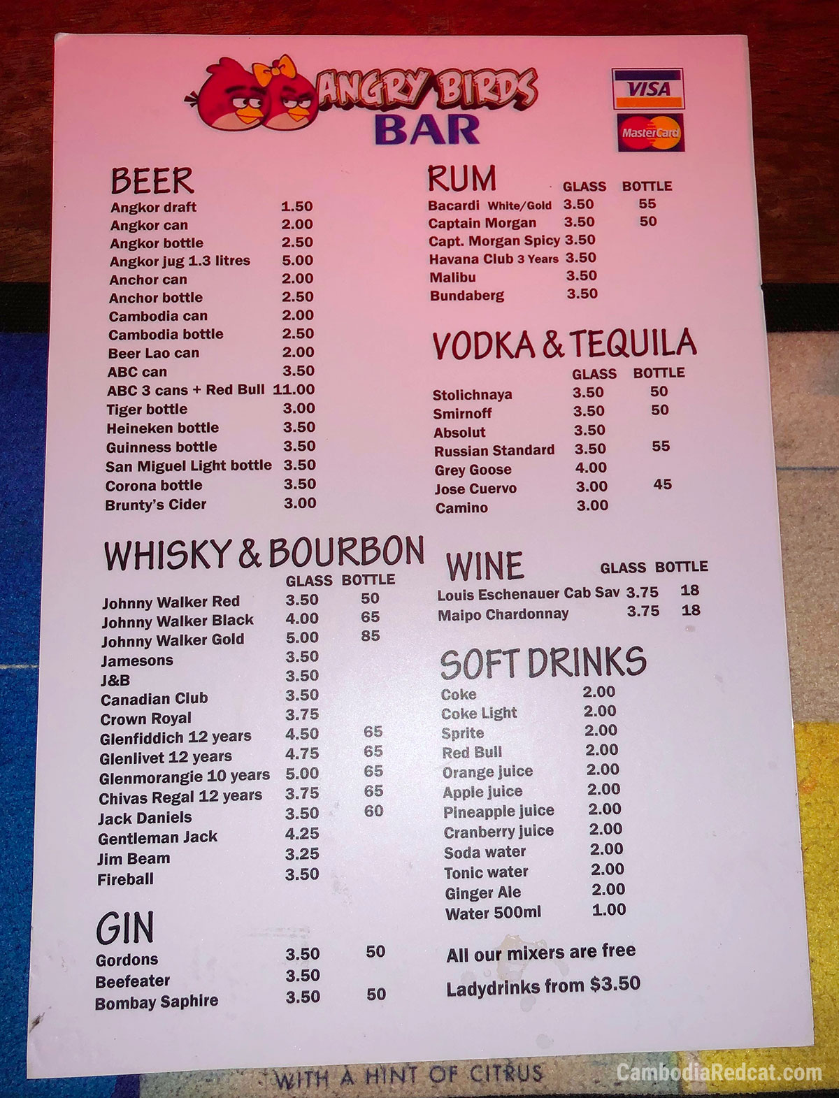 Phnom Penh Girly Bar Prices