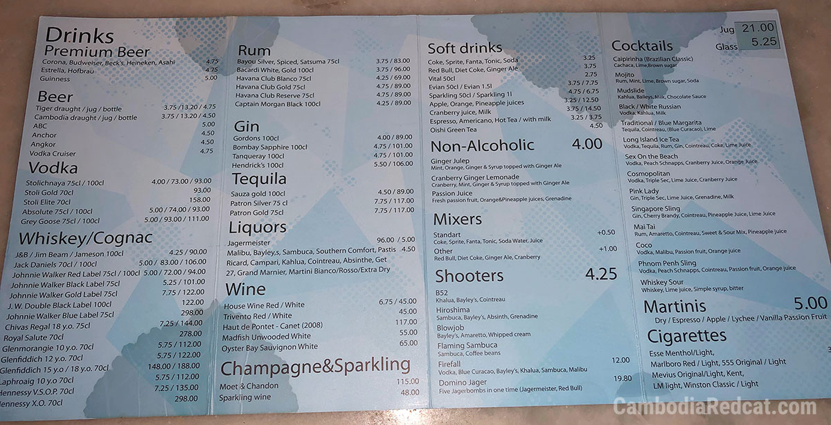 Phnom Penh Night Club Prices