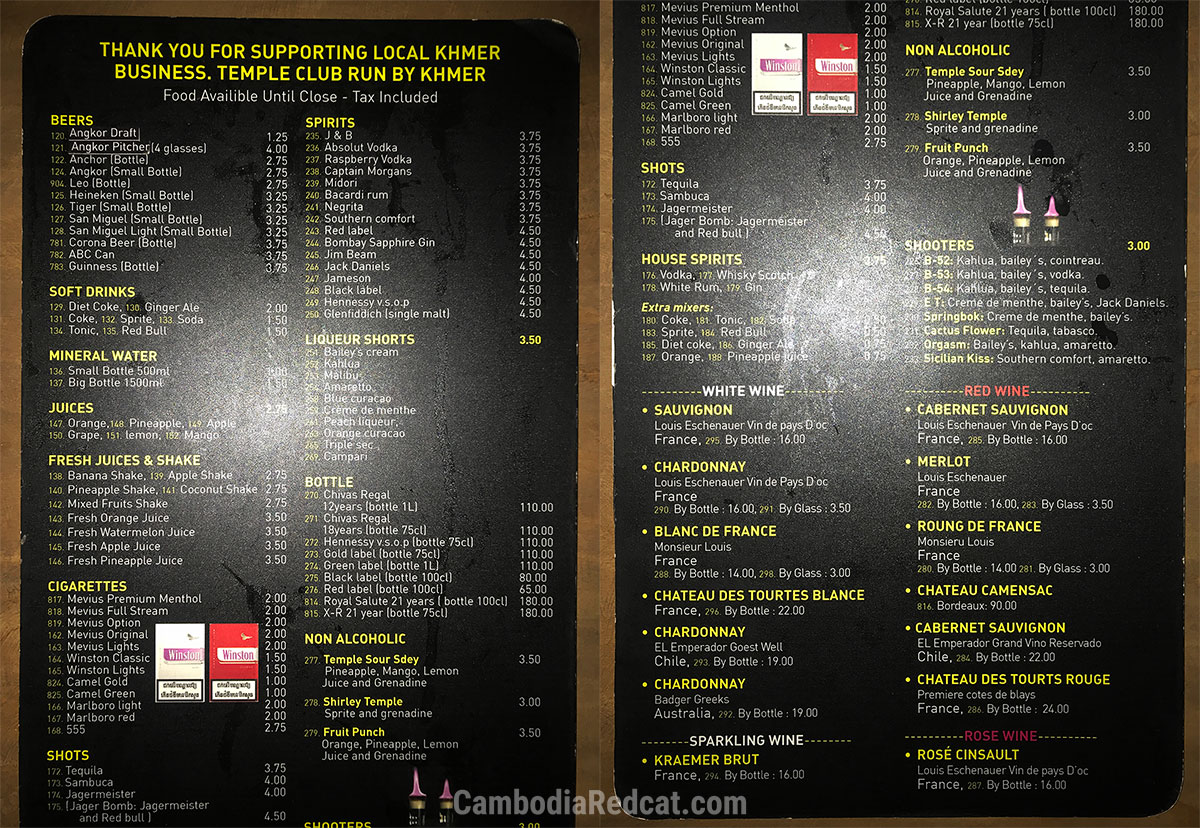 Siem Reap Night Club Prices