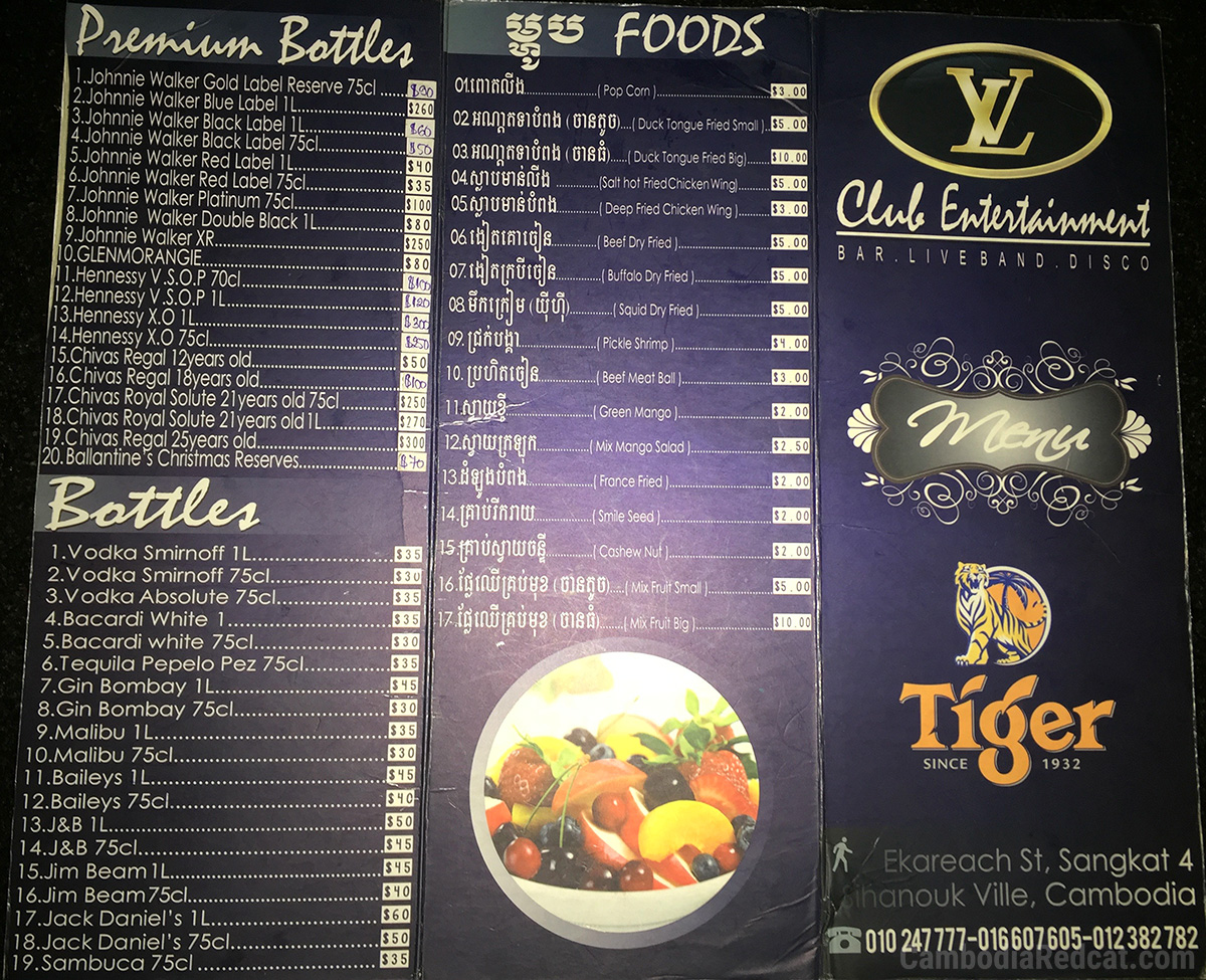Sihanoukville Night Club Drink Prices