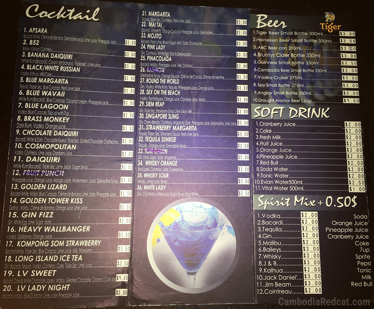 Sihanoukville Night Club Drink Prices 2